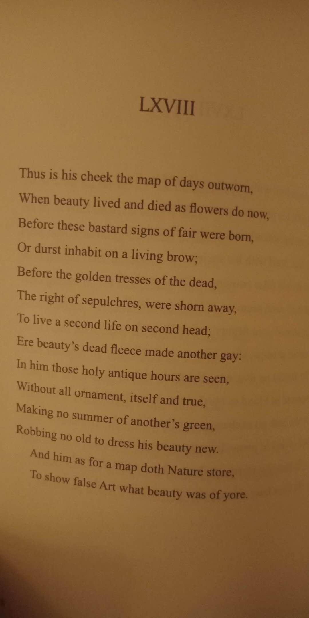 《莎士比亚的十四行诗(第68章)》